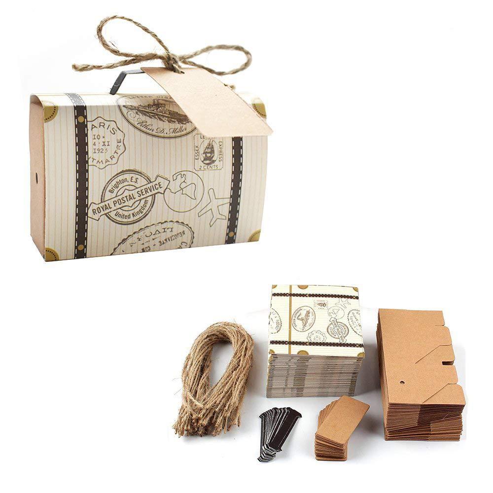 E Goal 50pcspack Mini Suitcase Wedding Favor Candy Box For Wedding