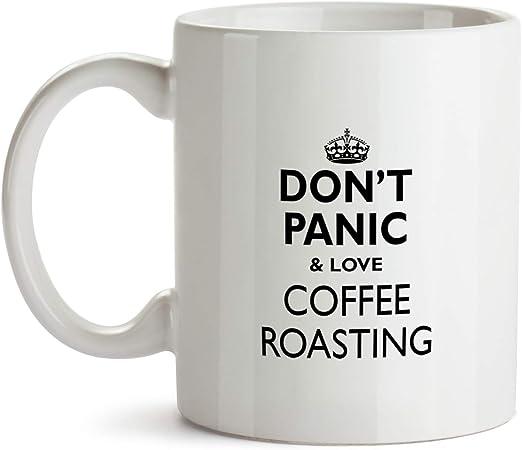 com don t panic and love coffee roasting gift mug aa i