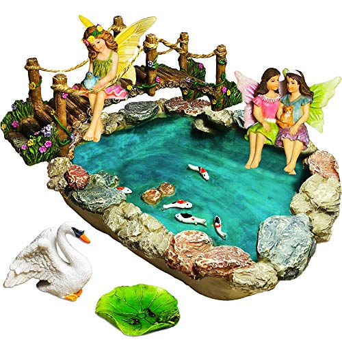 Fairy Garden Fish Pond Kit Handpainted accessories