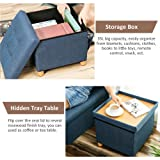 WALTSOM Folding Storage Ottoman, Cube Footrest Seat Stool Coffee Table with Woode Feet, Side Pockets, Double Sides Lid, Soft Padding for Home and