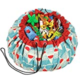 "Play Mat and Toy Storage Bag - Durable Floor Activity Organizer Mat - Large Drawstring Portable Container for Kids Toys, LEGO, Books - 55"", Badminton"