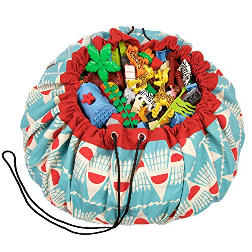 Play Mat and Toy Storage Bag - Durable Floor Activity Organizer Mat - Large Drawstring Portable Container for Kids Toys, Books - 55, Badminton