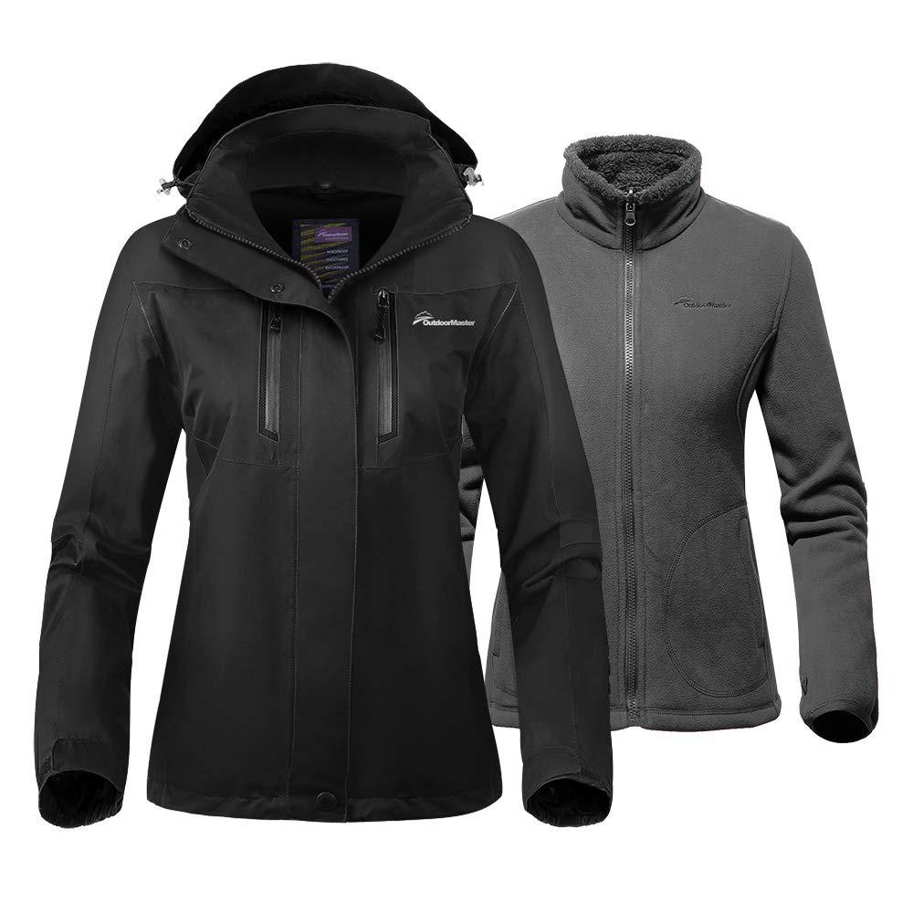 OutdoorMaster Women's 3-in-1 Ski Jacket - Winter Jacket Set with Fleece Liner Jacket & Hooded Waterproof Shell - for Women (Black,S)