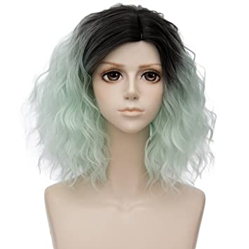 Alacos 35cm Fashion Black Dark Roots Ombre Short Curly Bob Christmas Daily Costumes Wig for Women