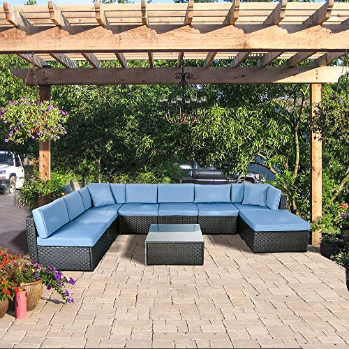 ECOLINEAR Outdoor PE Wicker Rattan Sofa Patio Sectional Furniture Set w/Blue Seat & Back Cushions and Throw Pillows, Black Conversation Set (9 Piece-A) (Outdoor Sectional Piece 9)