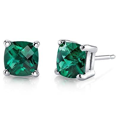 775896028f13f 14 Karat White Gold Cushion Cut 1.75 Carats Created Emerald Stud Earrings