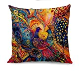 Oil Painting Hundreds of Birds Cotton Linen Throw Pillow Case Cushion Cover Home Sofa Decorative 18 X 18 Inch(3) (Deer)