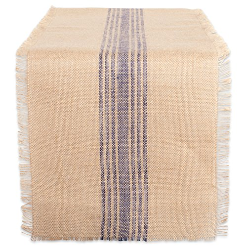 DII CAMZ38421 French Blue Middle Stripe Burlap Table Runner, 14x72