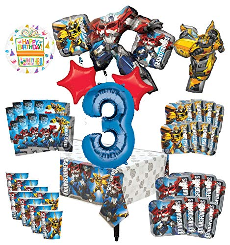 Transformers 3rd Birthday Party Supplies 8 Guest Decoration Kit and Balloon Bouquet - (Transformers 9 Ounce Cups)