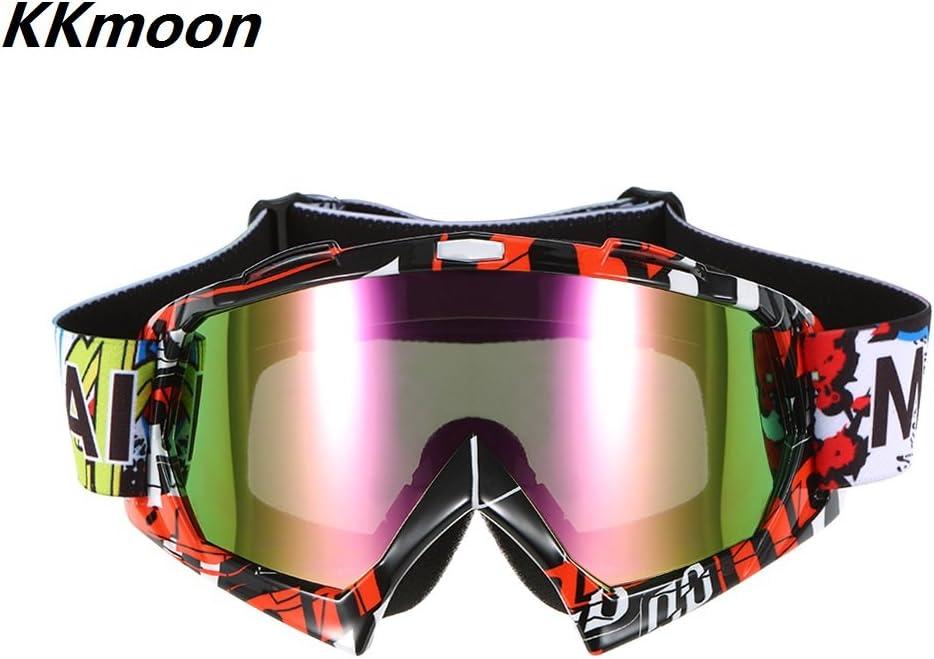 KKmoon Lunettes de Cyclisme Goggle Ski Ext/érieur Coupe-vent Verre Anti-brouillard Lentille de Couleur Moto Courses /Équitation