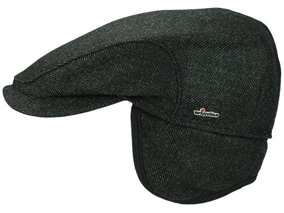 9a219cc563b Wigens Per Loro Piana Flatcap Schiebermütze mit Ohrenklappen aus Wolle  schwarz 55  Amazon.de  Bekleidung