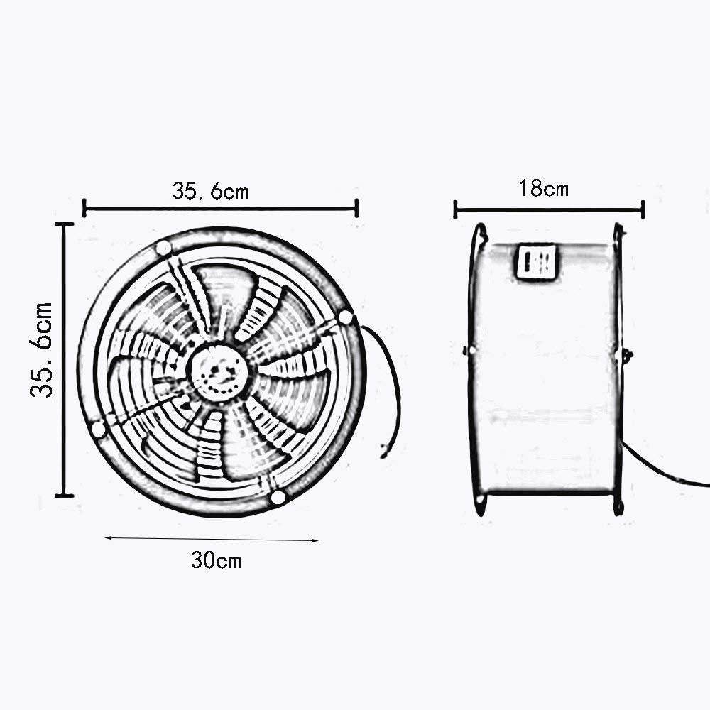 YINUO Fans Ventilador eléctrico Gran Volumen de Aire/Extractor de Pared/Cilindro Ventilador de Metal Lleno/Extractor Industrial/Campana extractora de Humos de Cocina para el Taller, Garaje 12: Amazon.es: Hogar