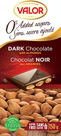 Chocolates Valor - Chocolate puro con almendras Sin Azúcar- 150 g ...