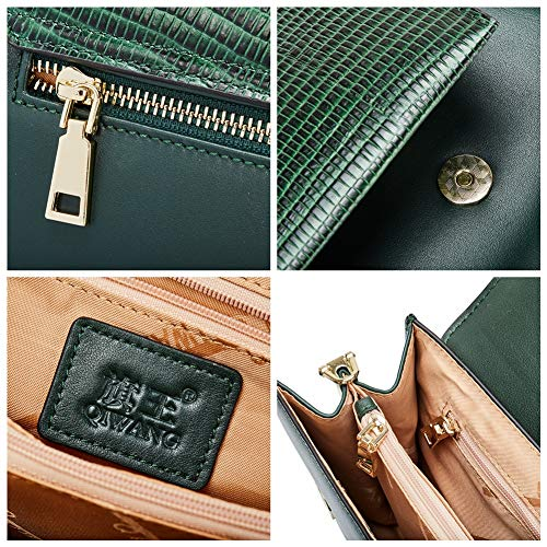 Women Genuine Layer Large Clutches Purses First Green Crossbody Leather Evening Cowhide Handbags pUfpqw