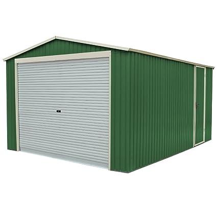 Garageplus - Caseta de chapa galvanizada para jardín y exterior, 350 x 574 x 245