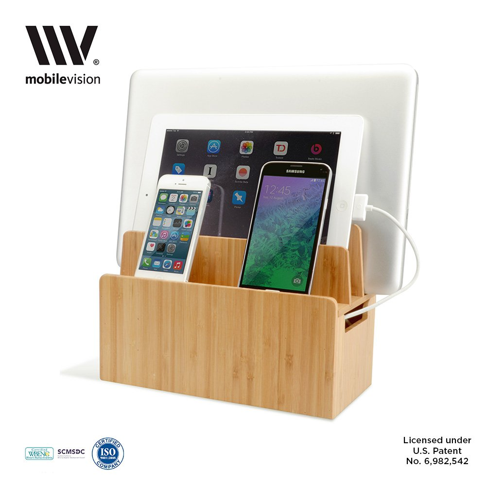 Make Charging Station Amazoncom Bamboo Universal Multi Device Cord Organizer Stand And