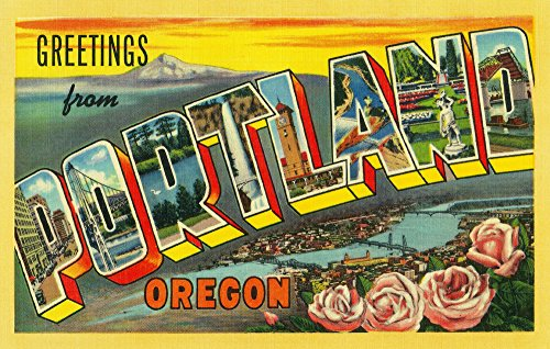 (Greetings from Portland, Oregon - Vintage Halftone (16x24 Giclee Gallery Print, Wall Decor Travel Poster))