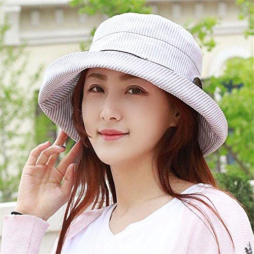 LONFENN Ladies Women Hats Summer Outdoor Visor Stripe Cotton Fisherman Cap Crimping Basin Cap Sunscreen Can Be Folded Khaki Adj.