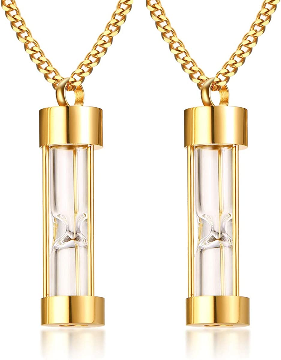 VNOX Memorial Jewellery Stainless Steel Glass Hourglass Shapes Urn Cremation Pendant Necklace,Gold Plated