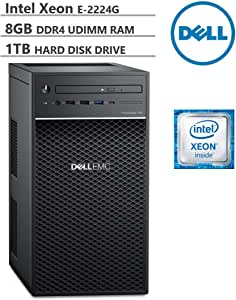 KKE Upgrades PowerEdge T40 Tower Server (T30 Updated Version), Intel Quad-Core Xeon E-2224G 3.5GHz, 8GB DDR4 ECC UDIMM Memory, 1TB 7200RPM HDD, DisplayPort, DVD-RW, No Operating System, Black