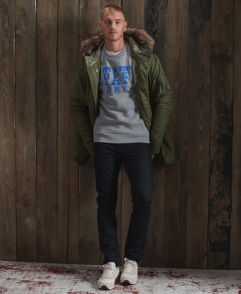 Superdry Herren Klassisches Track & Field Sweatshirt mit Rundhalsausschnitt Hellgrau Meliert