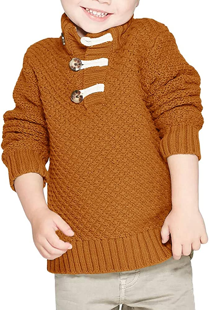 OCHENTA Boys Girls Long Sleeve Cable Knitted Turtleneck Pullover Sweaters
