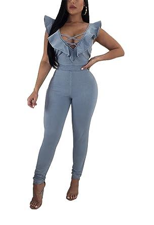 becc7e906ef Amazon.com  cnFaClu Women Deep V-Neck Lace-up Ruffle Sleeves Denim Romper  Jumpsuit Party Club Dress  Clothing