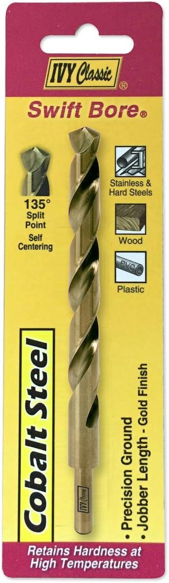 Reduced Shank 135-Degree Split Point IVY Classic 04127 27//64-Inch Cobalt Steel Drill Bit 1//Card