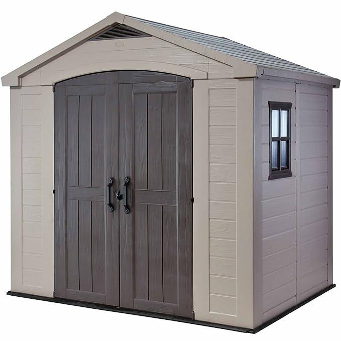 Keter - Caseta de jardín exterior Factor 8x6 con escuadra incluida, Color marrón / Beige: Amazon.es: Jardín