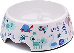 Food-Grade Melamine Pet Feeder Slow Feed Help Digestion Interactive Bloat Stop Dog Footprint Dog Bowl no More Than 50 pounds