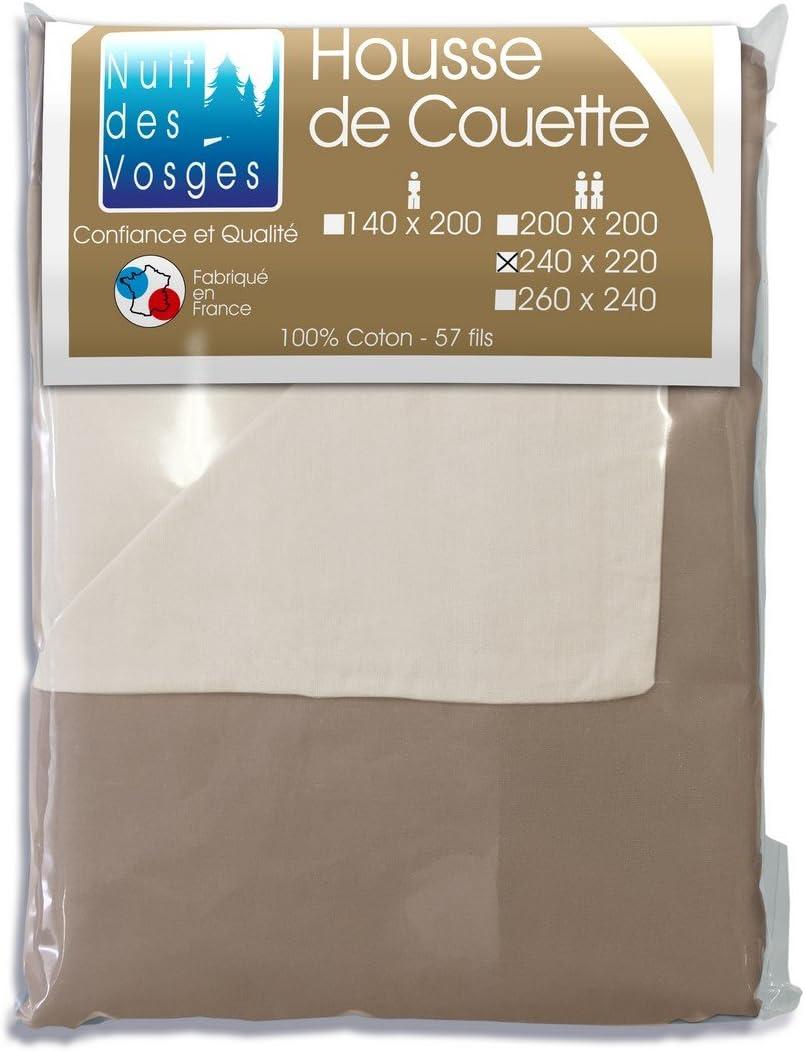 Nuit des Vosges Cotoval Taie Doreiller Bicolore R/éversible 65x65 cm Coton Framboise// Violine 65 x 65 cm