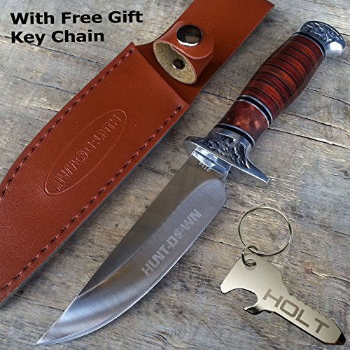"""10"""" Hunt-Down Brown Wood Handle Fixed Blade Hunting Full Tang Bowie Knife with Leather Sheath 