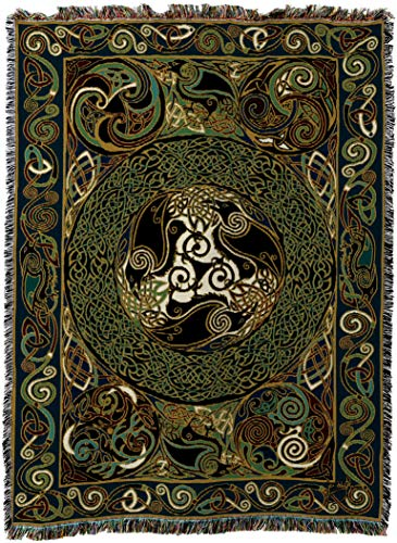 Cotton Throw Irish (Pure Country Weavers - Ravens Panel Irish Celtic Symbols Woven Tapestry Throw Blanket with Fringe Cotton USA Size 72 x 54)