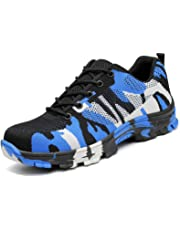 PAMRAY Men Women Safety Work Shoe Steel Toe Protect Reflective Footwear Strip Puncture Proof Construction Industrial Comfort Sneakers Camouflage Black Blue Green US7-12(38-46)