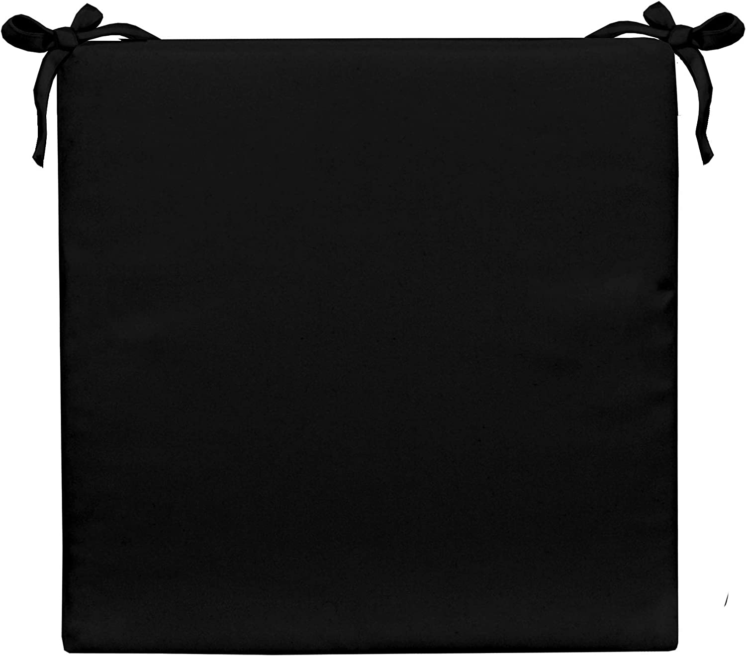 Resort Spa Home Decor Indoor Outdoor Solid Black Square Universal 2 Thick Foam Seat Cushion with Ties for Dining Patio Chair – Choose Size