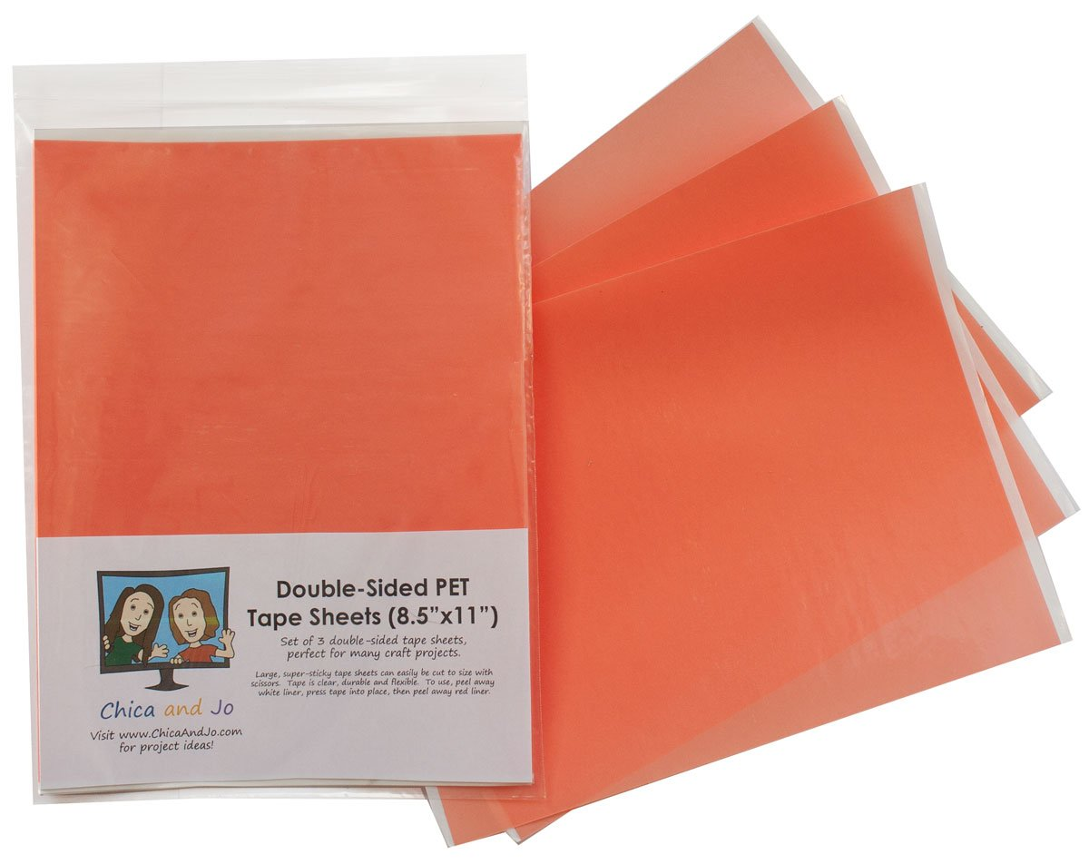 Double sided craft tape - Amazon Com Double Sided Tape Sheets By Chica And Jo Pack Of Three 8 5 X11 Sheets Super Sticky Clear Pet Tape With Red Liner Industrial Scientific