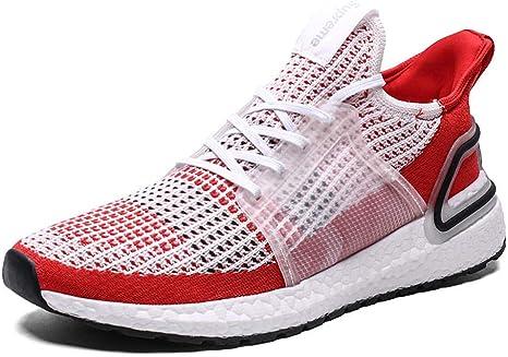 Zapatillas de deporte de gran tamaño para hombres, zapatillas deportivas de entrenamiento para correr al aire libre, zapatillas transpirables de malla para caminar ligeras y transpirables @ White Red: Amazon.es: Deportes y