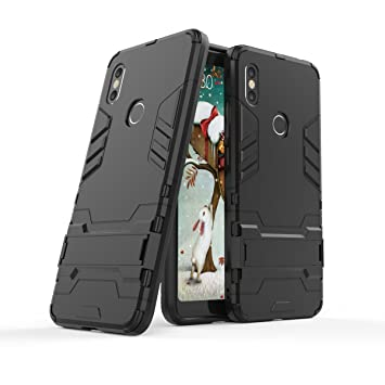 Max Power Digital Carcasa Xiaomi Redmi S2 Tipo Hybrid Iron Man Antigolpes Híbrida Armadura Robusta con Pata Trasera (Negro)