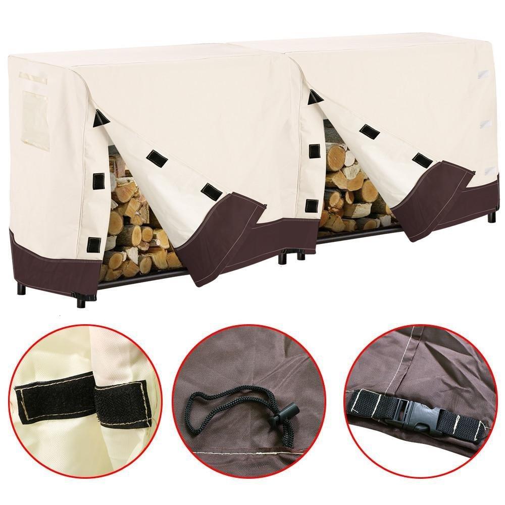 Topeakmart Heavy Duty Waterproof Log Rack Cover Firewood Wood Log Holder Protection, 8 Feet, Beige