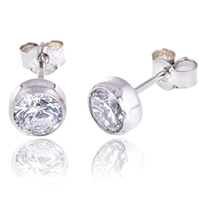 Isabella Silver 925 Solid Sterling Silver Stud Earrings made with 5mm Cubic Zirconia Gem Stones pLDjSFNp