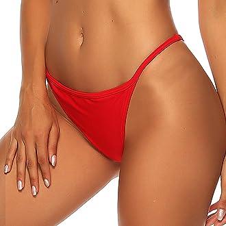 FITTOO Damen Niedrige Taille Brazilian Style T-Back Tanga Thong Bikinislip Bikinihose