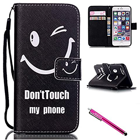 iPhone 5S Case, iPhone 5 Wallet Case, Firefish [Kickstand] [Shock Absorbent] Double Protective Case Flip Folio Slim Magnetic Cover with Wrist Strap for Apple iPhone 5/5S/SE-Smile
