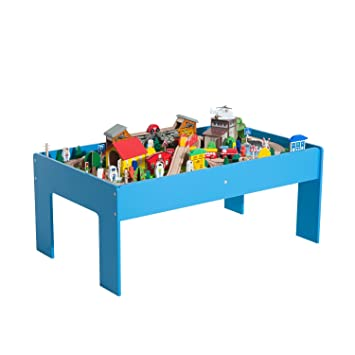 Miraculous Homcom Wooden Railway Train Table 108 Pc Train Set Kids Children Play Table Indoor Activity Toy Machost Co Dining Chair Design Ideas Machostcouk