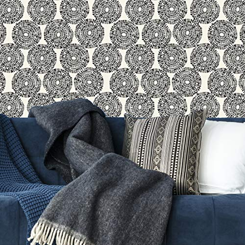 Flipside Painted Black Circles Removable Pre-Pasted Wallpaper - Each Roll is 18 ft. Long x 18 in. Wide - Safe for Walls - Easy to Apply & Extremely Easy to Remove