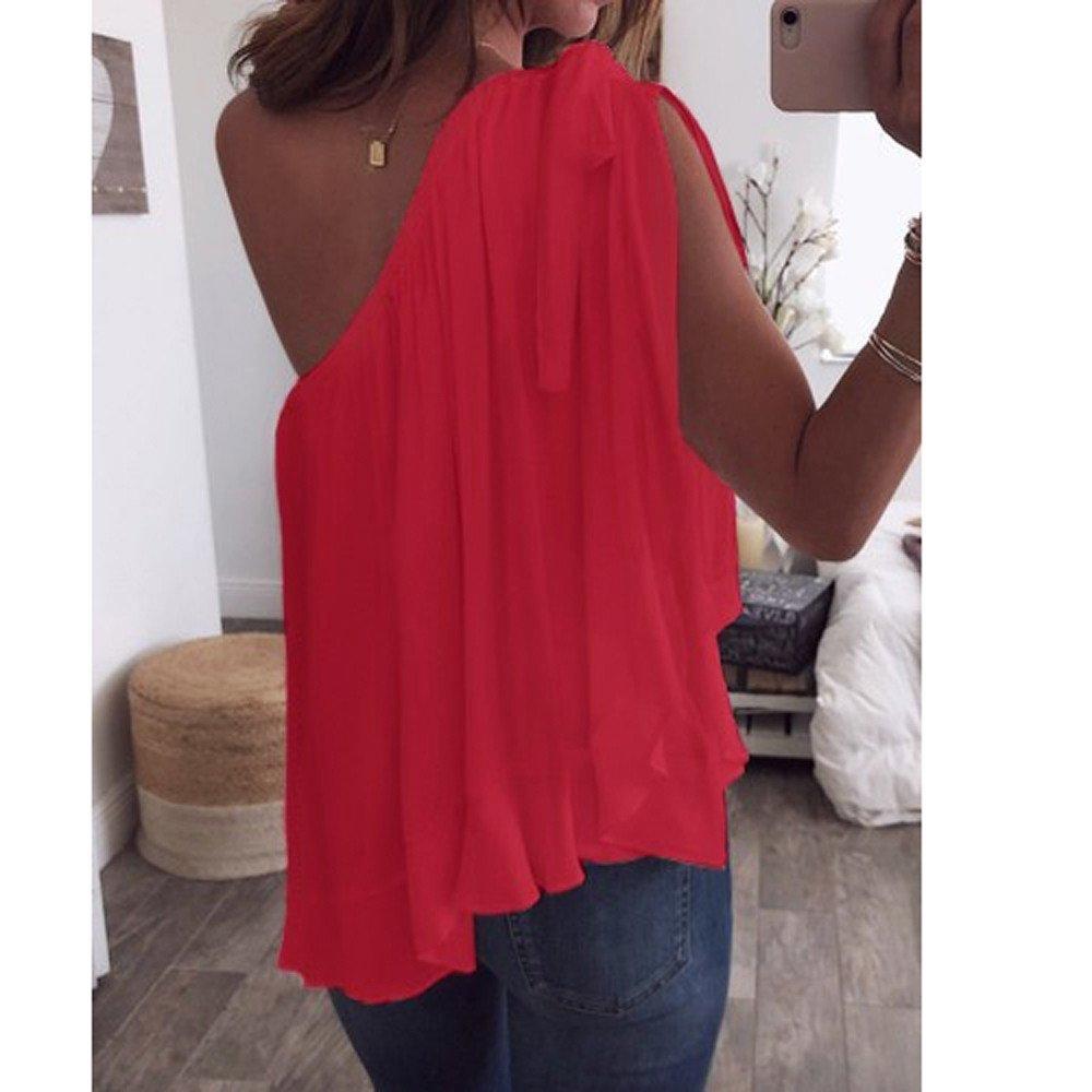 Eaktool Shirts for Women,Women Ladies Chiffon Off Shoulder T-Shirt Sleeveless Casual Tops Blouse