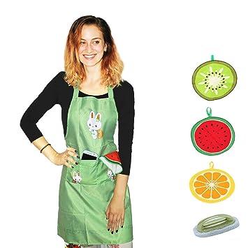 Toallas de mano con delantal gratis Y sin arañazos Manija cepillo de esponja- Frutas cocina