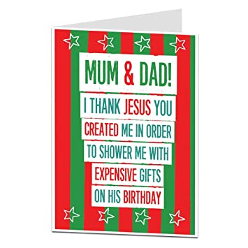 Christmas Card For Mum Dad Funny Quirky Jesus Birthday Theme Guaranteed To Make Your Parents Laugh At Xmas Amazoncouk Office Products