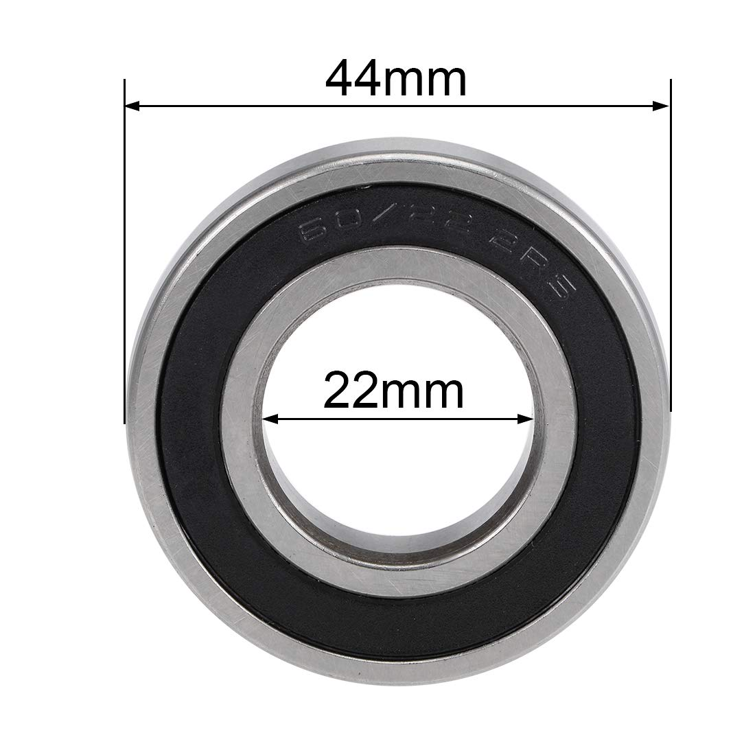 sourcing map 60//22-2RS Deep Groove Ball Bearings Z2 22mm x 44mm x 12mm Double Sealed Chrome Steel