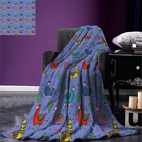 smallbeefly Llama Throw Blanket Cartoon Style Furry Animals with Mexican Folk Details Triangle and Cactus Kids Design Warm Microfiber All Season Blanket for Bed or Couch Multicolor