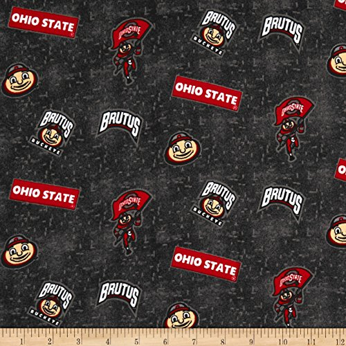 Sykel Enterprises NCAA Ohio State University Flannel Distressed Logo Grey Fabric by The (Ohio Athletic Shorts)